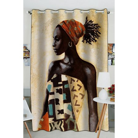 GCKG African Woman Window Curtain Kitchen Curtain Window Drapes Panel for Living Room Bedroom Size 52(W) x 84(H) inches (One Piece)