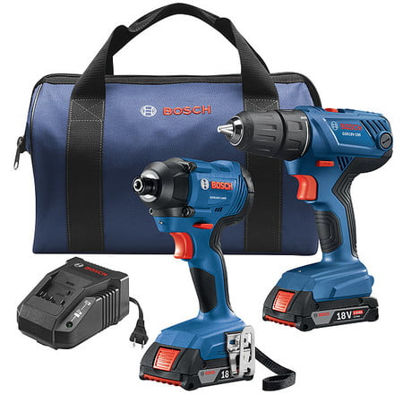 BOSCH GXL18V-26B22 18V 2-Tool Combo Kit with Compact 1/2 In. Drill/Driver and