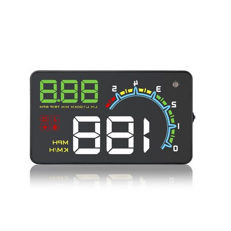 "Car HUD Head Up Display 4"" Four-stage Overspeed Alarm with OBD II EUOBD Interface Windshield Projector Multiple-Color Bright Speeding Warning System"