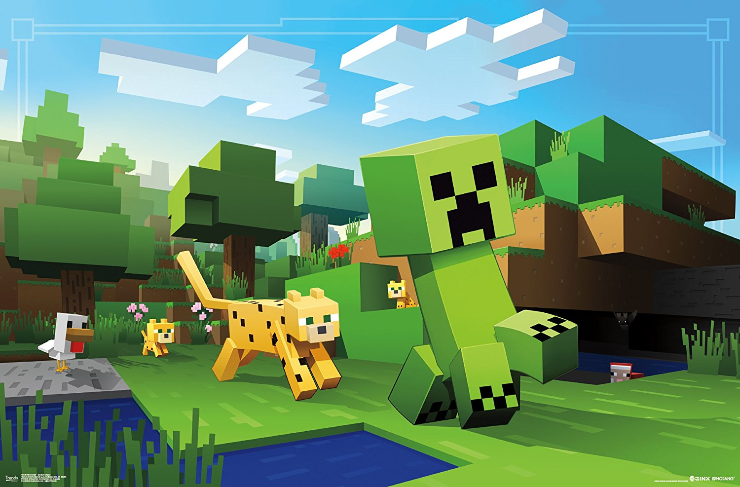 Minecraft Ocelot Chase Video Gaming Poster 34x22 by Trend
