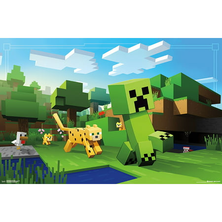 Minecraft Ocelot Chase Video Gaming Poster 34x22