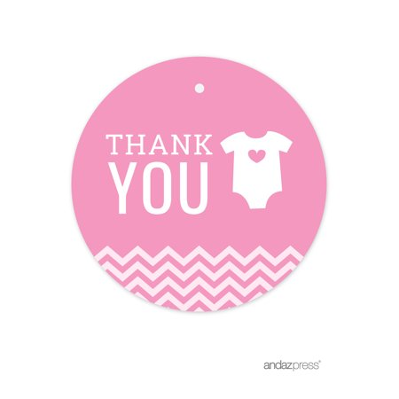 Thank You Bubblegum Pink Chevron Baby Shower Round Circle Gift Tags, 24-Pack (Name Tags For Baby Shower)