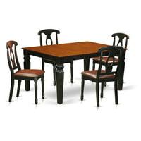 East West Furniture Weston 5 Piece Keyhole Dining Table Set