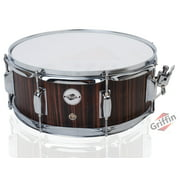 """Snare Drum by GRIFFIN 14"""" x 5.5"""" Black Hickory PVC & Coated Head on Poplar Wood Shell Acoustic Marching Percussion Instrument Set, Drummers Key, 8 Metal Tuning Lugs & Snare Strainer Throw Off Kit"""
