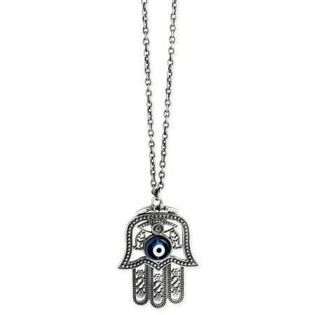 - Hamsa Hand Evil Eye Long Pendant Necklace, Antiqued Silver
