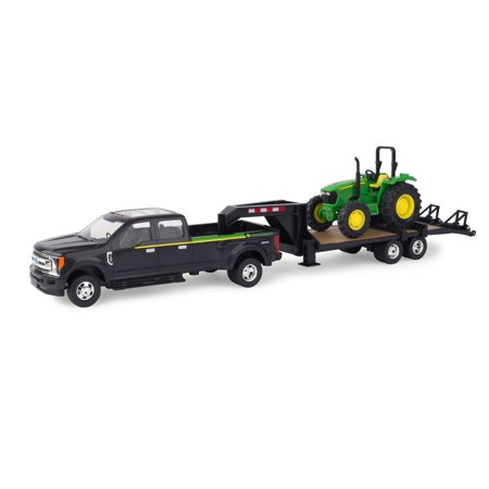 John Deere Toy Truck And Toy Tractor Set, 2017 Ford F350 & 5075E Tractor, 1:32 Scale ()