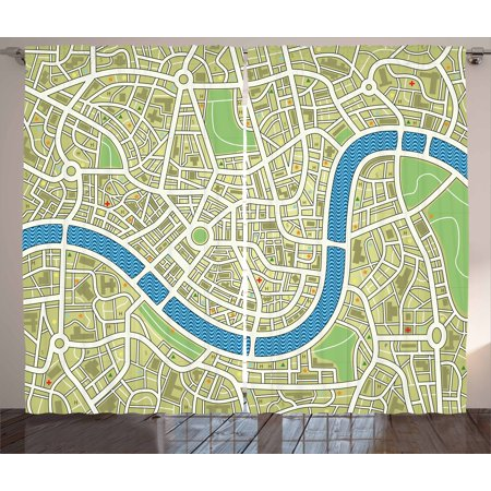 Map Curtains 2 Panels Set  Street Map Without Names Metropolis Capital City Downtown Urban  Window Drapes For Living Room Bedroom  108W X 90L Inches  Avocado Green Lime Green Blue  By Ambesonne