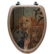 WGI-GALLERY Lab Trio Oak Elongated Toilet Seat