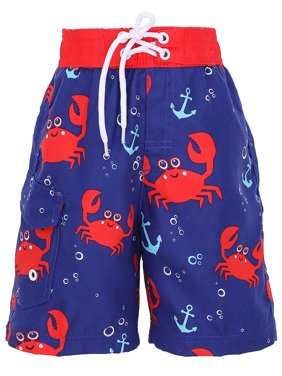 Boys' Fast Drying Sea Creature Sun Protection Swim Trunks, Crab, S