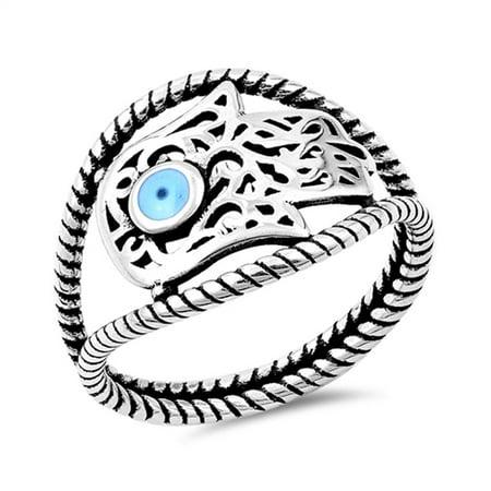 Sterling Silver Hamsa Ring - Sterling Silver Women's Bali Filigree Hand of God Hamsa Ring (Sizes 5-10) (Ring Size 5)