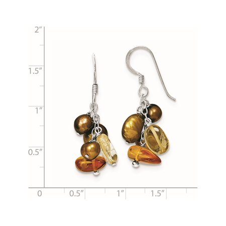 925 Sterling Silver Amber/Citrine & Copper FW Cultured Pearl (21x36mm) Earrings - image 1 de 2
