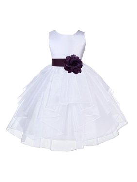 aeeecd01f Product Image Ekidsbridal White Plum Shimmering Organza Christmas  JuniorBridesmaid Recital Easter Holiday Wedding Pageant Communion Princess  Birthday ...