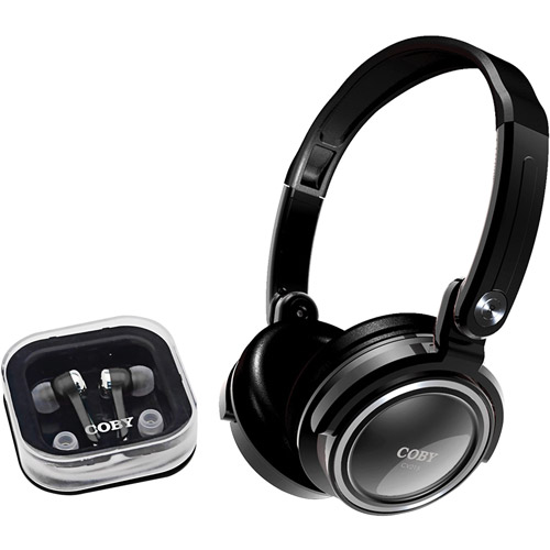 Coby Electronics CV215BLK  Black 2-In-1 Combo Deep Bass Stereo Headphones &  Earphones  CV2
