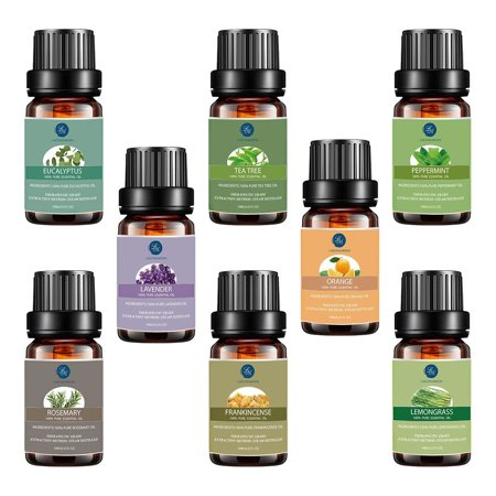 Top 8 Essential Oils Set,Pure Therapeutic Grade Aromatherapy Oils,Lavender,Eucalyptus,Lemongrass,Frankincense,Orange,Rosemary,Peppermint,Tea Tree Essential (Tea Tree Oil And Rosemary Oil For Hair)