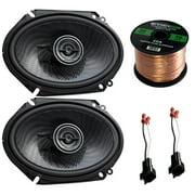 "Car Speaker Combo Of 2x Kenwood KFC-C6896PS 720-Watt 6x8"" Inch 2-Way Stereo Coaxial Speaker Bundle With 2x Metra 72-5600 Speaker Connector for Select GM Vehicles + Enrock 50ft 16g Speaker Wire"