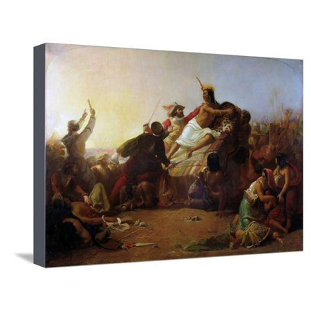 Francisco Pizarro Seizing the Inca of Peru by John Everett Millais Stretched Canvas Print Wall Art By John Everett Millais