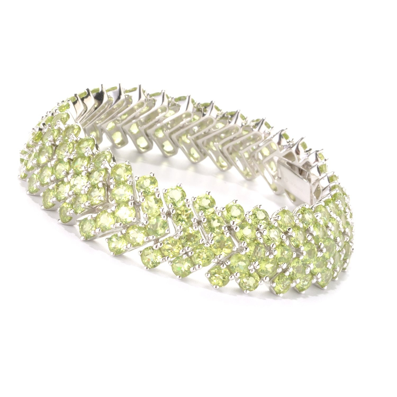 "Rhodium Plated Sterling Silver 39.43ctw Peridot Chevron Tennis Bracelet 6.50""L by colorzNshades"