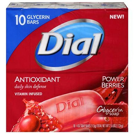 10 Station Speed Dial - Dial Glycerin Bar Soap, Power Berries, 4 Ounce Bars, 10 Count