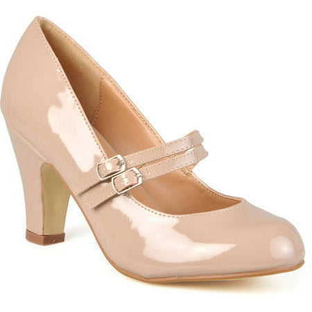 Brinley Co. Women's Medium and Wide Width Mary Jane Patent Leather Pumps - Mary Jane Pumps With Chunky Heel