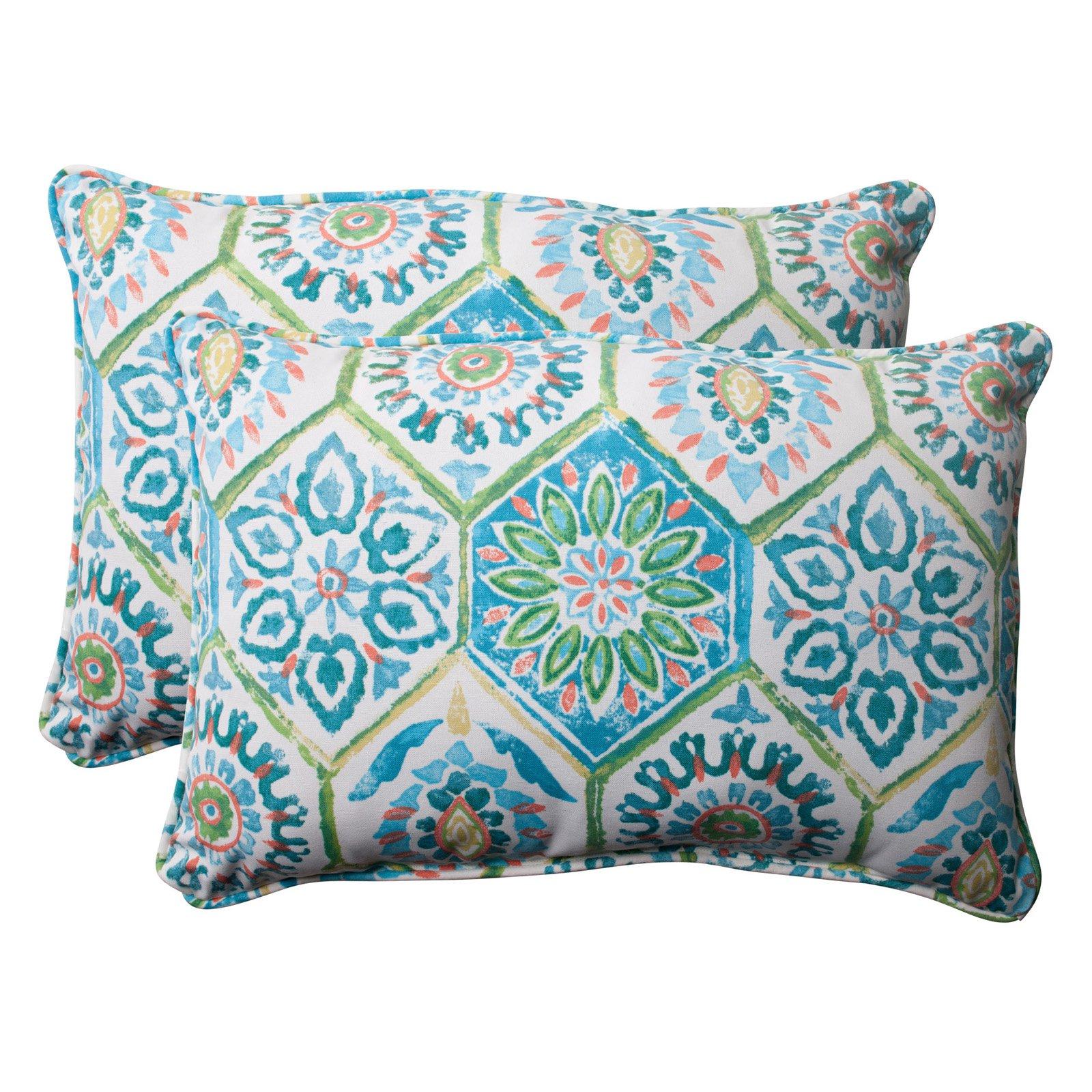 Pillow Perfect Outdoor/ Indoor Summer Breeze Blue Oversized Rectangle Throw Pillow (Set of 2)