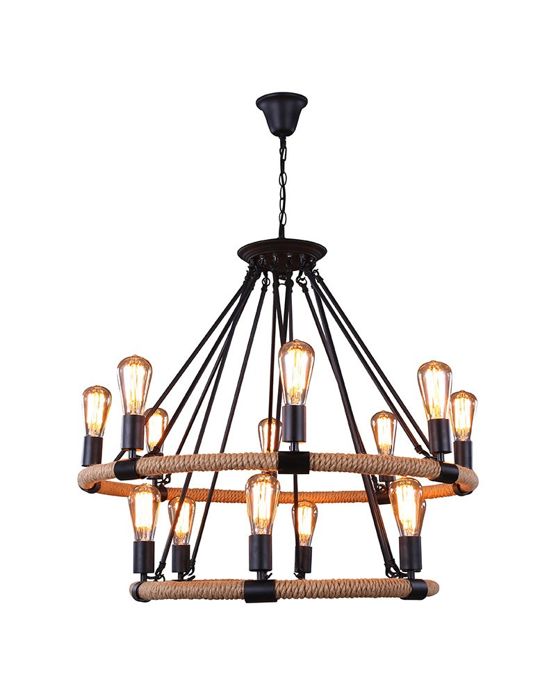 14 Lights Rustic Style Hemp Rope Pendant Light With Matte Black Iron Hook Com