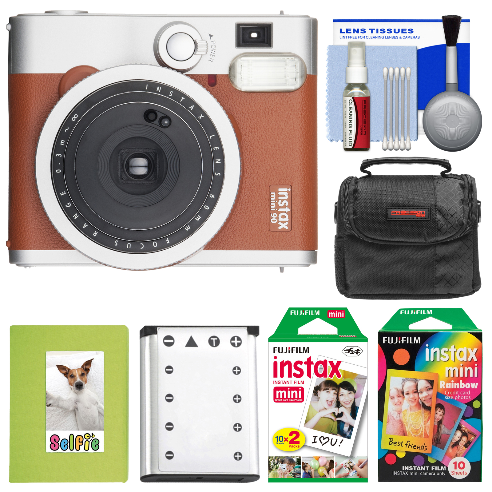 Fujifilm Instax Mini 90 Neo Classic Instant Film Camera (Brown) with 20 Twin Prints & 10 Rainbow Prints   Case   Battery   Photo Album Kit