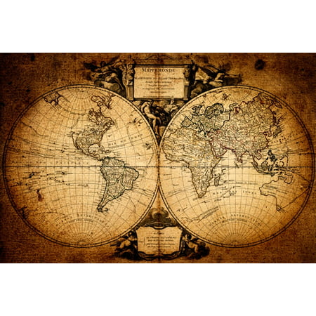 World Map Mappemonde Vintage Antique Reproduction Earth Globe Poster - 36x24 inch