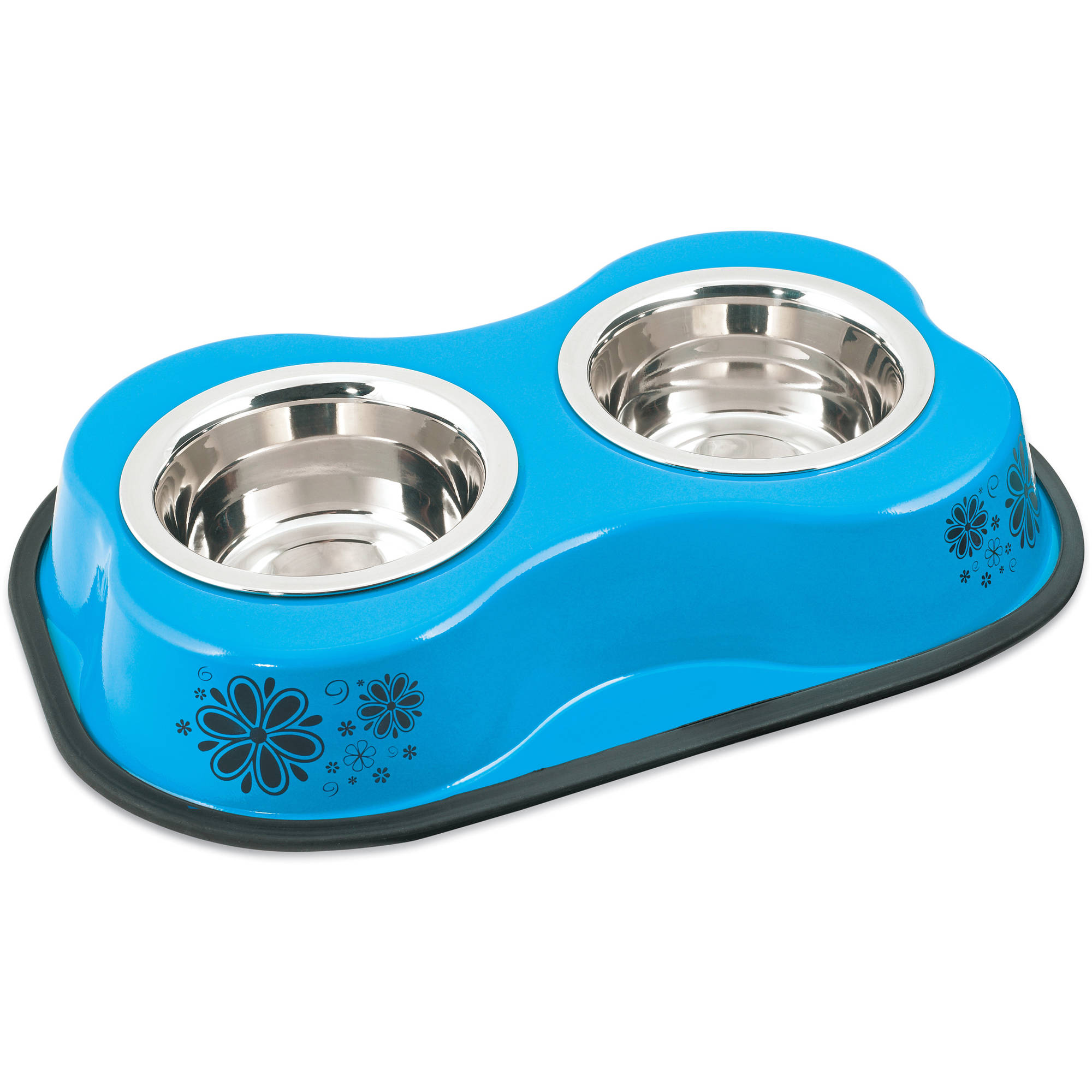 Bone Shaped Double Diner W/2 1pt Stainless Steel Bowls, Flower Pattern Blue