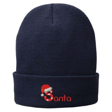 e2233bcb3eec3 Trendy Apparel Shop Santa Hat Embroidered Winter Knitted Long Beanie - Black