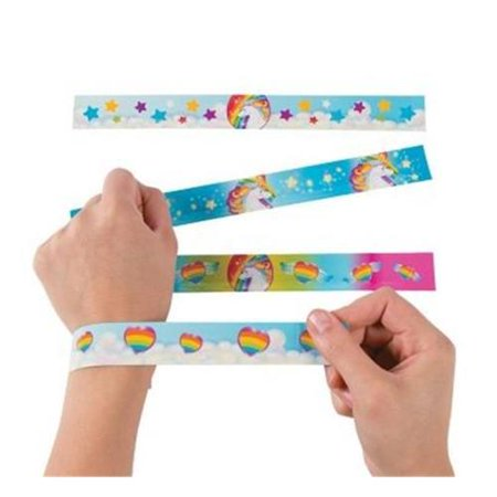 Fun Express 13629269 Unicorn Slap Bracelets - 90s Slap Bracelets