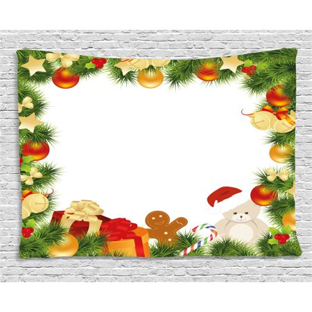 Kids Christmas Tapestry, Garland Frame Design with Evergreen Fir Tree Bear Toy and Gingerbread Man, Wall Hanging for Bedroom Living Room Dorm Decor, 60W X 40L Inches, Multicolor, by Ambesonne