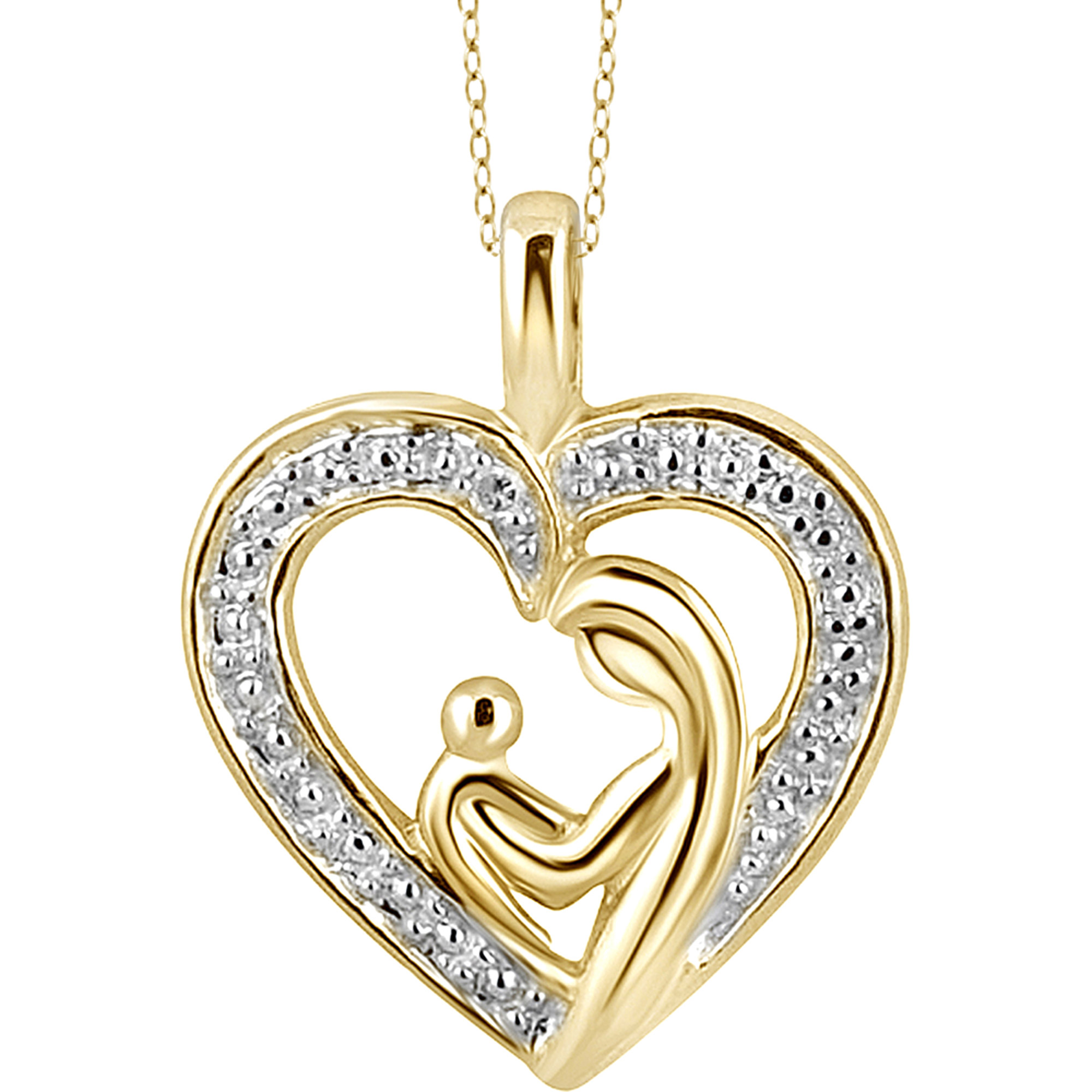 JewelersClub White Diamond Accent Gold over Silver Mother and Child Heart Pendant