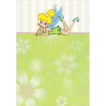 Hallmark Tinkerbell Posing On Stomach Disney Birthday Card For Her