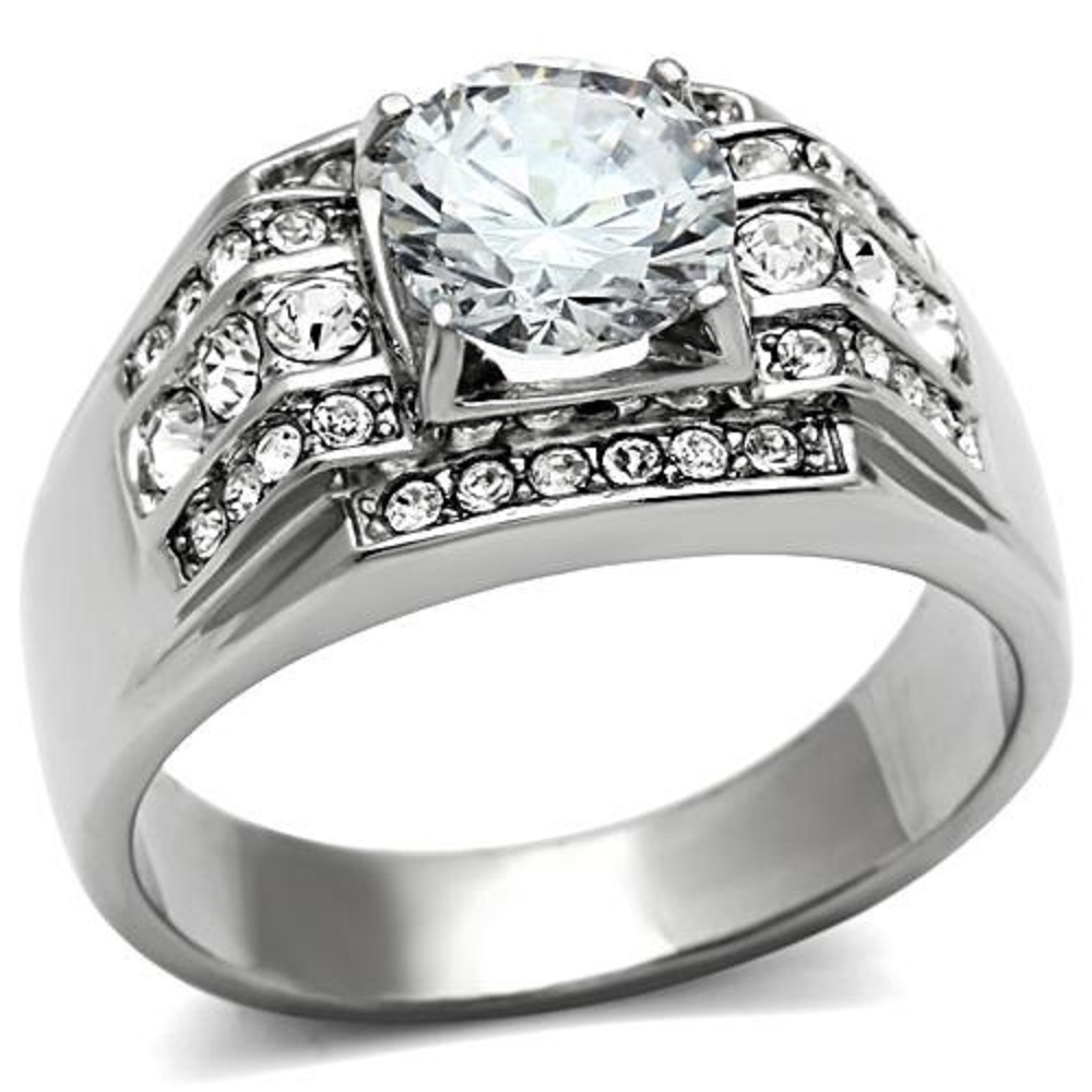 Polished New Stainless Steel Men's Round 3ct Cubic Zirconia Ring - Sizes 8-13