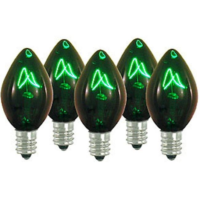 Queens of Christmas WL-C7-G Green Dimmable C7 E12 Base Incandescent Replacement Bulbs - Pack of 25