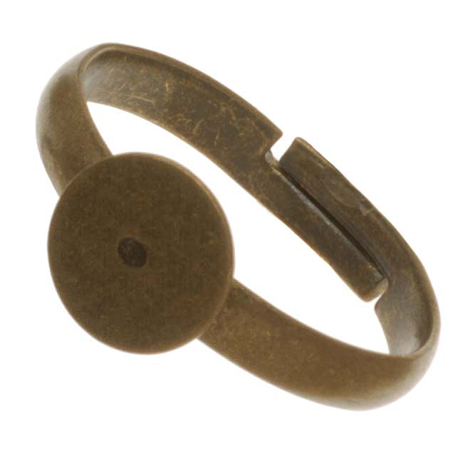 Antiqued Brass Adjustable Ring With 8mm Glue On Plate (4)