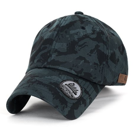 ililily Camouflage Soft Matt Faux Leather Vintage Velcro Strapback Baseball Cap , Blue -
