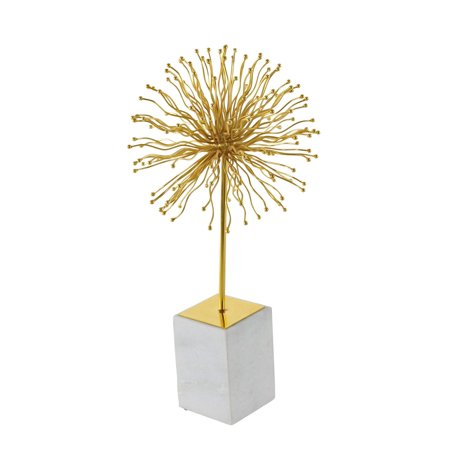 Italian Marble Sculpture (Decmode Modern 20 inch gold iron starburst sculpture with white marble base,)