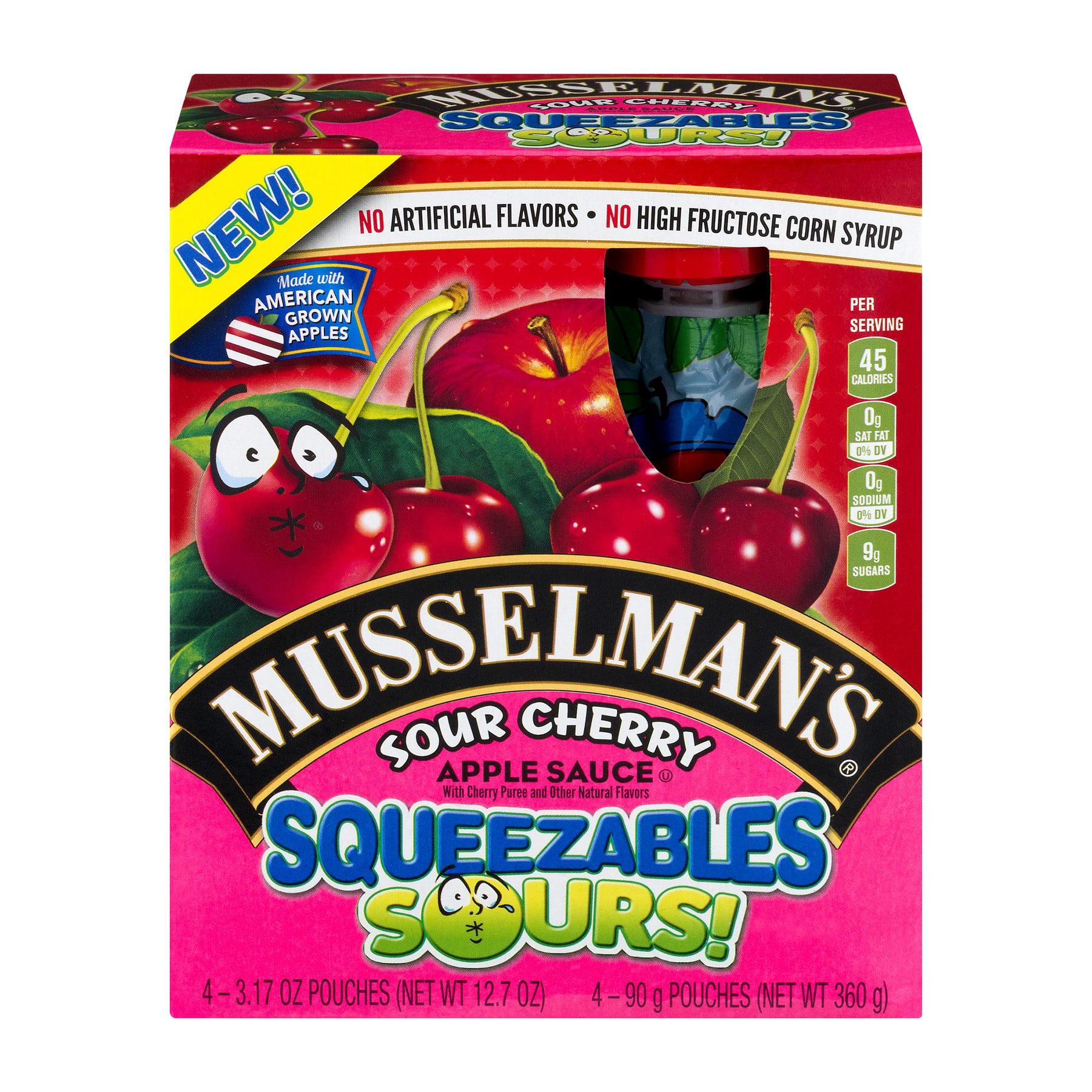 (2 pack) Musselman's Squeezables Sours! Sour Cherry Apple Sauce 4-3.17 oz. Pouches