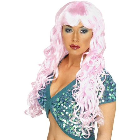 Long Curly Pink Siren Woman's Costume Wig One Size - Hot Pink Curly Wig