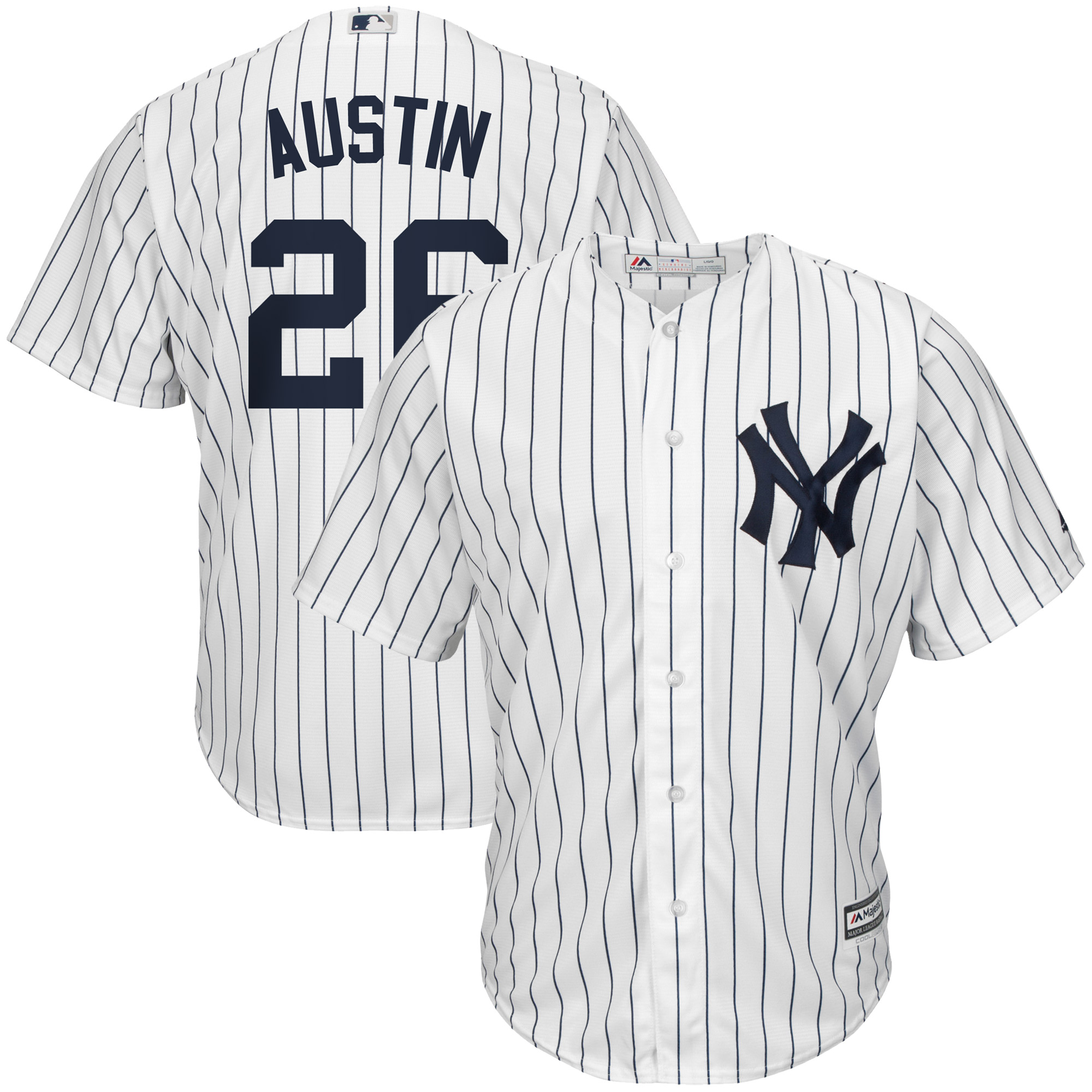 Tyler Austin New York Yankees Majestic Home Official Cool Base Player Jersey - White/Navy