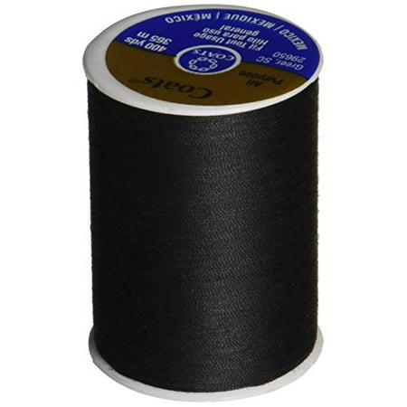 Coats & Clark Dual Duty All-Purpose Thread. 400 Yards/1 Spool of Yarn. Black Coats & Clarks Yarn