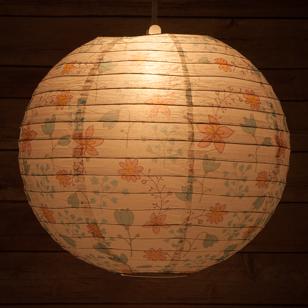 "Quasimoon 14"" Liberty Print Teal Bellflower Floral Pattern Paper Lantern, Design by Esper by PaperLanternStore"