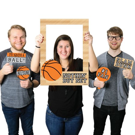 Basketball - Birthday Party or Baby Shower Selfie Photo Booth Picture Frame & Props -Printed on Sturdy Material (Basketball Party Decor)