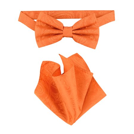 Vesuvio Napoli BowTie Burnt Orange Color Paisley Mens Bow Tie & Handkerchief