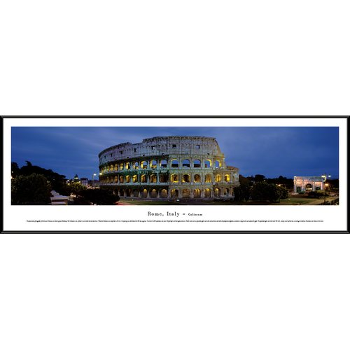 Rome, Italy - Coliseum- Blakeway Panoramas Print with Standard Frame
