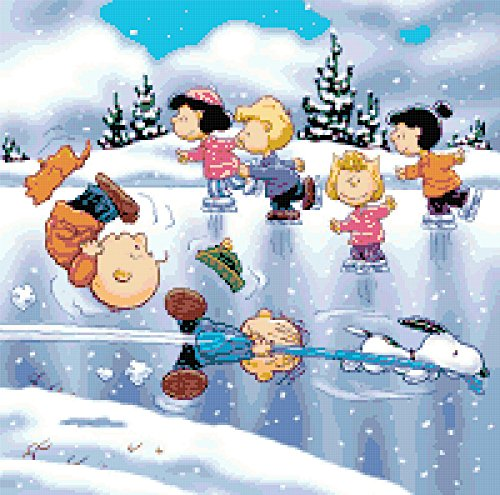 Peanuts Charlie Brown and Gang Ice Skating Counted Cross Stitch Pattern