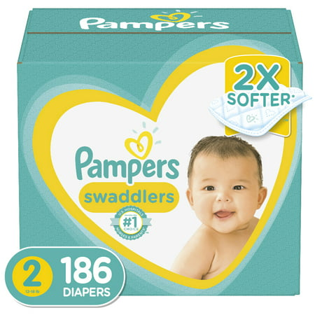 Pampers Swaddlers Soft and Absorbent Diapers, Size 2, 186 Ct