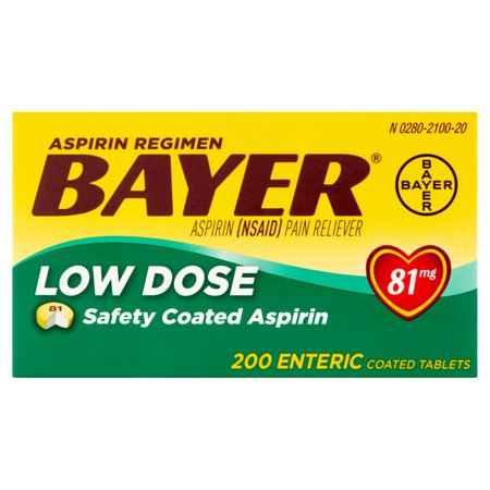 Bayer Low Dose Aspirin Enteric Coated Tablets  81Mg  200 Ct