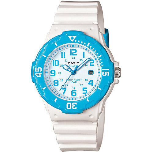 Casio Women's Dive Style Watch with White Glossy Resin Strap with Blue Accents